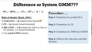 (Stata13): How to Decide between Difference and System GMM #gmm #onestepgmm #twostepgmm #yeardummies