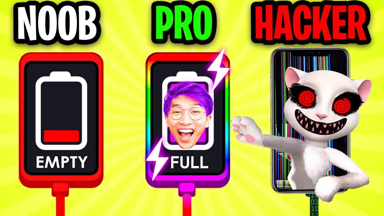 Download NOOB vs PRO vs HACKER In RECHARGE PLEASE!? (ADAM'S DATE CALLS HIS PHONE! *MAX LEVEL LANKYBOX PRANK*)