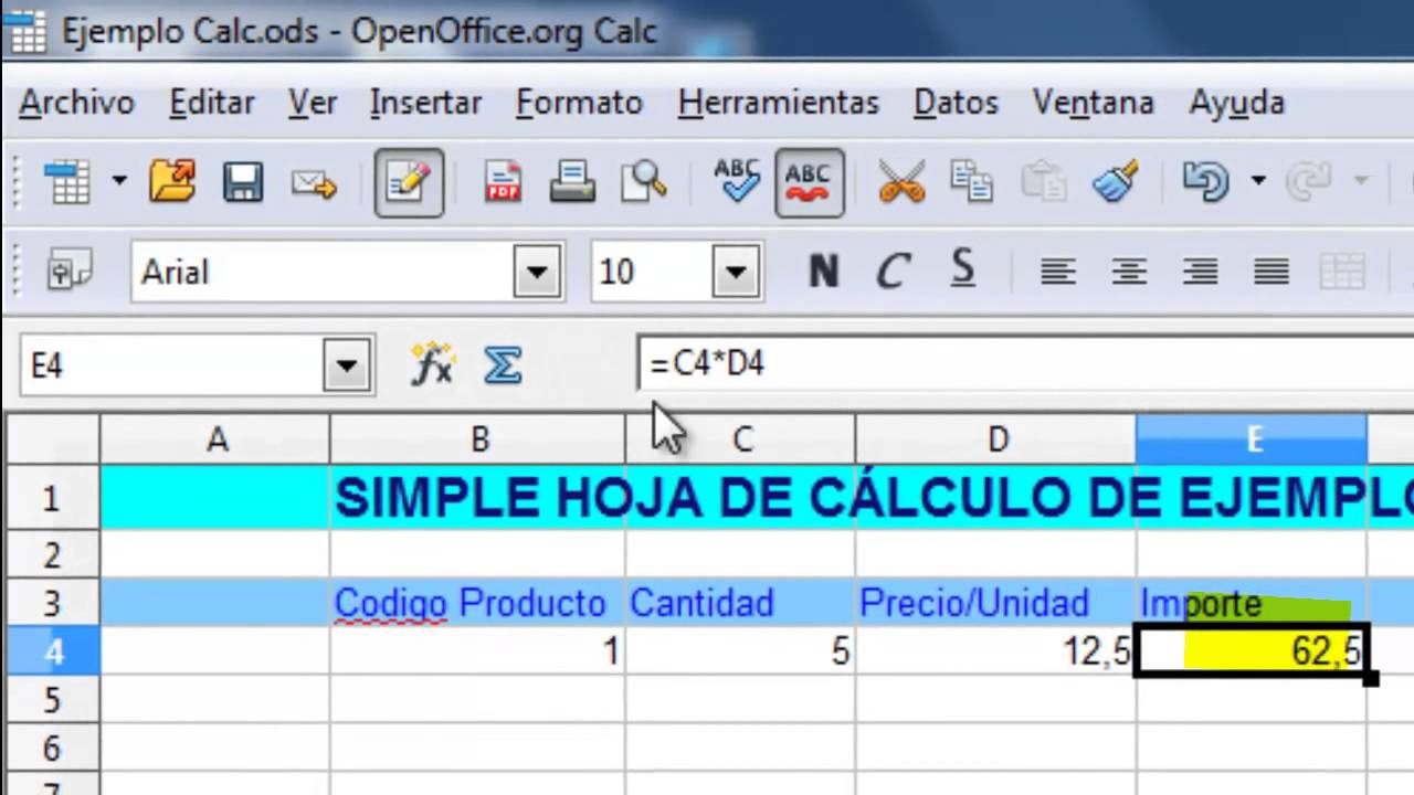 OpenOffice Calc. Sencilla hoja de cálculo - YouTube