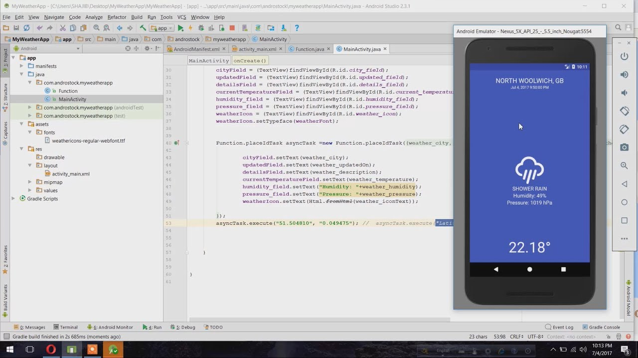 Create a weather app on android - Android Studio - Androstock