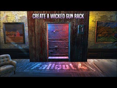An Automatic Backlit Gun Rack Display 🔫 Fallout 4 No Mods Shop Class