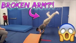 SCARY TRAMPOLINE ACCIDENT! (ALMOST BROKE ARM)