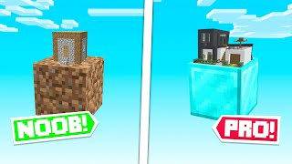 NOOB Vs PRO One Block BUILD CHALLENGE! (Minecraft SkyBlock)