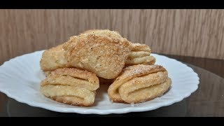 "Творожное печенье ""Гусиные лапки"" // Goose legs cottage cheese cookies"