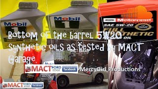 Bottom of the barrel 5W20 Synthetic oils as tested by MACT Garage