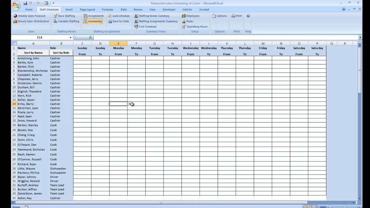 Employee Availability YouTube - Labor schedule template