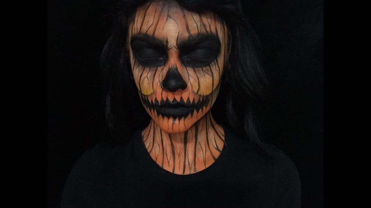Scary Pumpkin Halloween Makeup - YouTube
