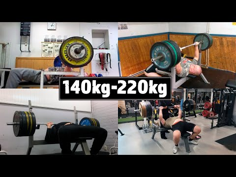 140kg-220kg Bench Press Progress | 10 Years