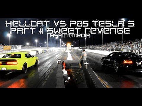 Tesla S P85D vs Hellcat   Part II Sweet Revenge