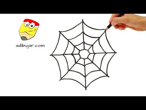 Como dibujar una telaraña sencilla en papel: Emojis Whatsapp | How to draw a spiderweb