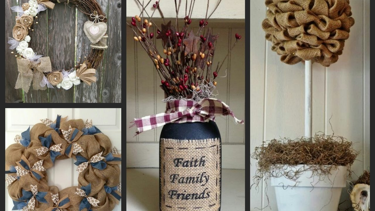 Burlap Crafts Ideas  Rustic Decor Ideas with Burlap  YouTube