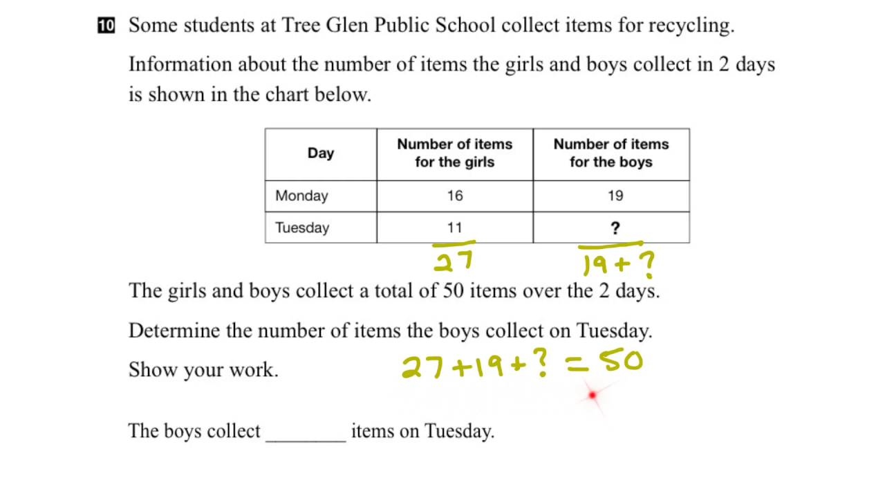 worksheet Eqao Grade 3 Worksheets eqao grade 3 math 2015 question 10 solution youtube