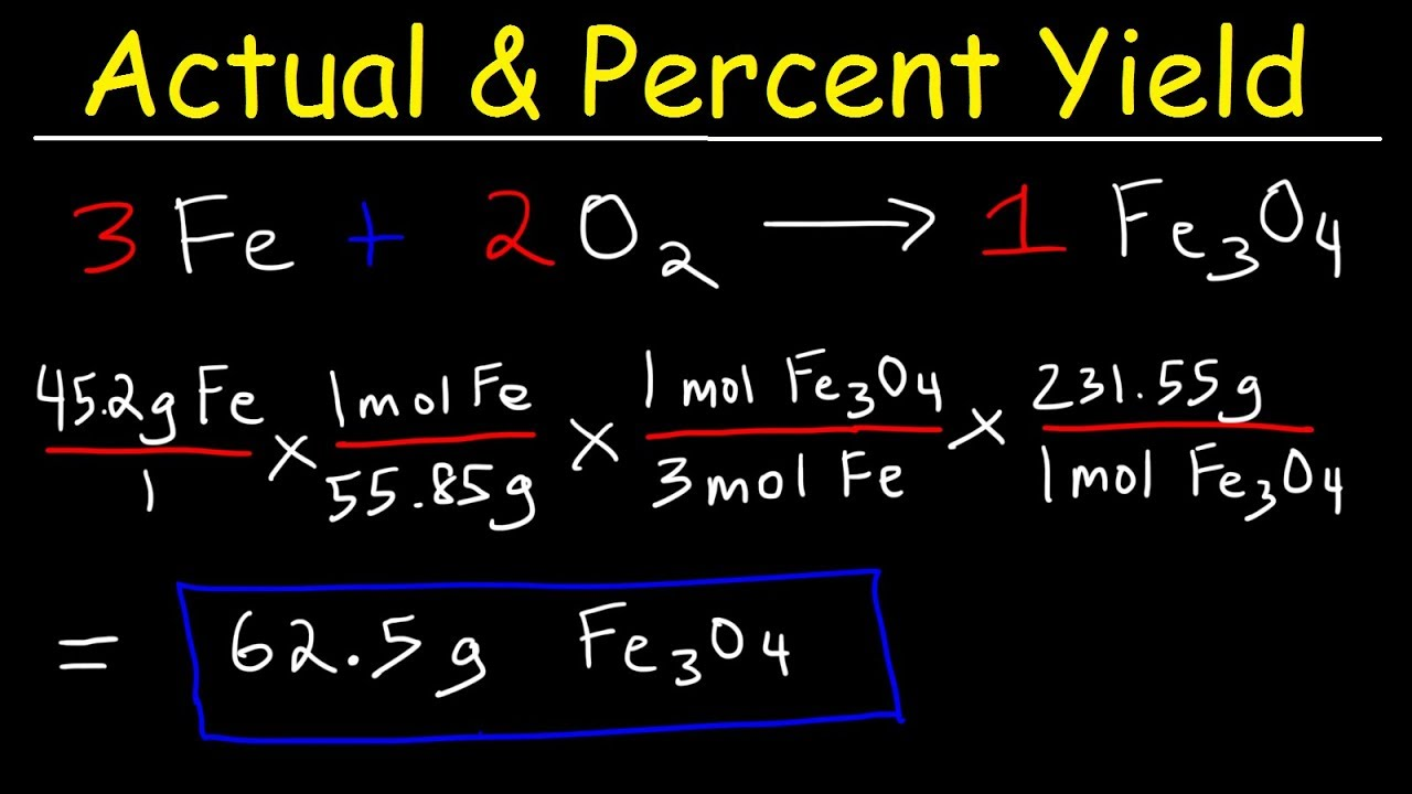 Percent Yield, Actual & Theoretical Yield, Limiting Reagent, Stoichiometry  Practice Problems,