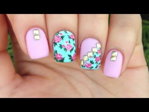 Hermosas u as con flores y accesorios nail art tutorial for Decoracion de unas de rosas