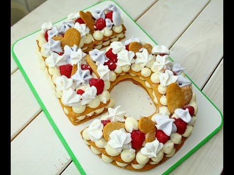 ПОЛНЫЙ ВОСТОРГ! Торт Цифра из медовых коржей /  Пошагово + Приготовление безе, ганаш, крем-чиз