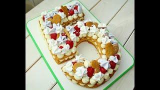 пОЛНЫЙ ВОСТОРГ! Торт Цифра из медовых коржей /  Пошагово  Приготовление безе, ганаш, крем-чиз