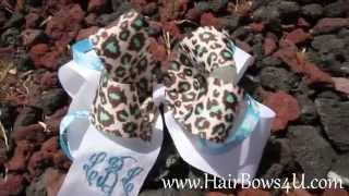 Cheetah Turquoise and Light Blue Stacked Hair Bow - video demo