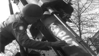 US Army 75th Div,289th Infantry Regiment soldiers paint signs in Ickern, Germany ...HD Stock Footage