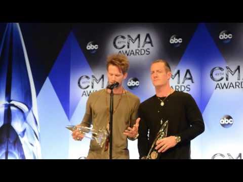 Florida Georgia Line backstage at the 2015 CMA Awards