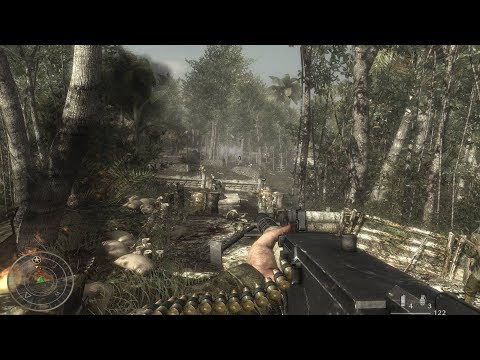 BLOODY FIGHT of the US Marines in jungle ! In FPS Game about WW2 Call of Duty World at War