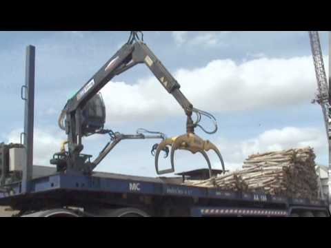 Wood log crane unloading = 6,000 ton/day for Pulp and Paper mill