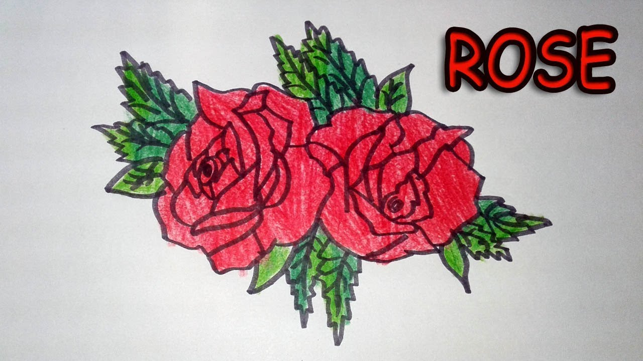 How To Draw Rose - Coloring page video for toddlers -Easy Flower ...