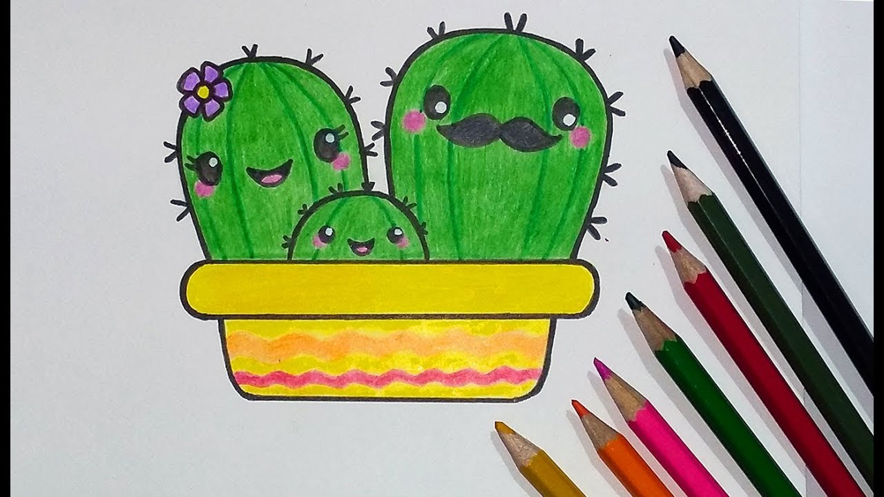 how to draw a cactus family cute step by step with. Black Bedroom Furniture Sets. Home Design Ideas