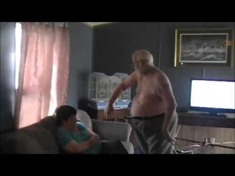 Angry Grandpa gets kicked in the nuts