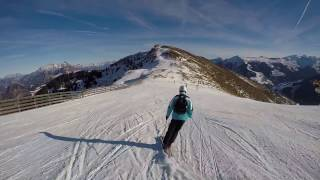 Skiing to the Rosswald 6er in the Skicircus Saalbach Hinterglemm Leogang Fieberbrunn