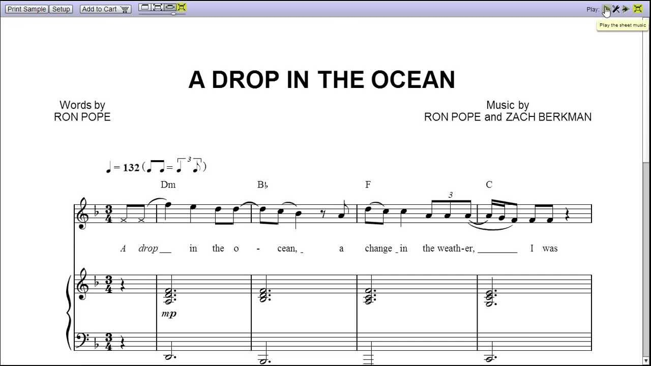 A drop in the ocean sheet music download free in PDF or MIDI