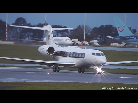 Profred Partners Gulfstream G650 (G-VI) G-ULFS Takeoff at Bristol Airport with ATC