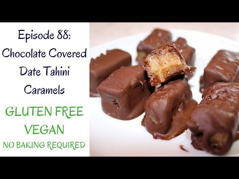 5 Ingredient Chocolate Covered Date Tahini Caramels (Vegan, Gluten Free, No Bake)