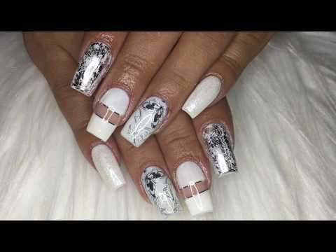 How To White Elegant Acrylic Nails Design