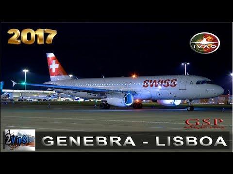 NOVO SIMULADOR DE VOO 2017 | A320 SWISS | GENEBRA - LISBOA | IVAO