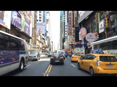 Driving Downtown 42nd St Theaters New York City NY USA
