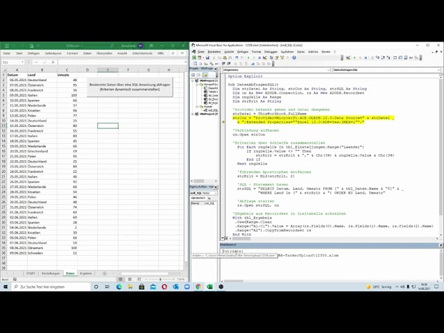 256: Excel-VBA: Der Länder-Report: Kriterien für eine SQL-Abfrage dynamisch zusammenstellen