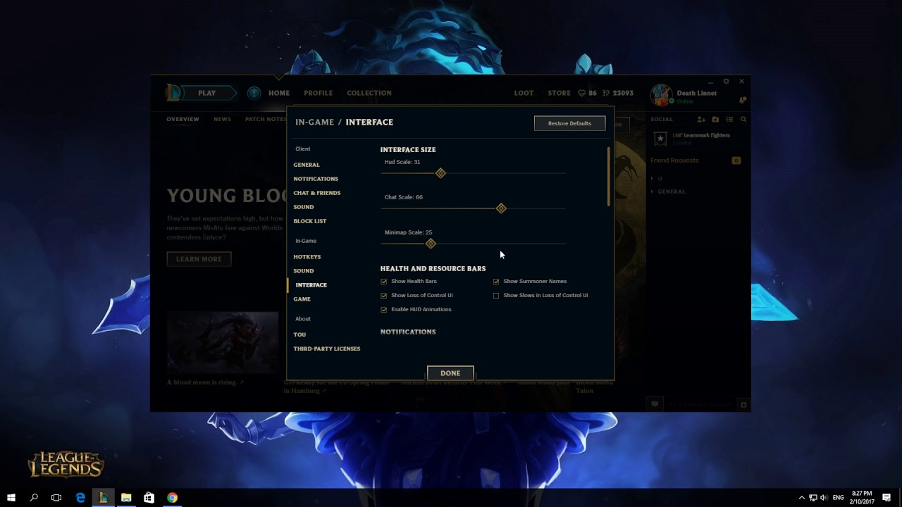 How To Show Target Frame On Attack In League Of Legends Client 2017 ...