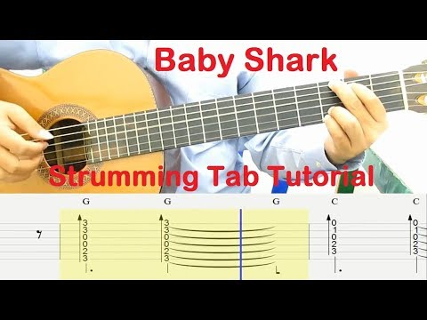 baby-shark-guitar-tutorial-strumming-tab-chords---guitar-lessons-for-beginners