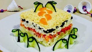 Салат из печени трески необычайно вкусный. Салат на праздник. Рецепты салатов.