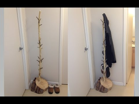 DIY Rustic Coat Tree Rack Live Edge HomeMade Gift