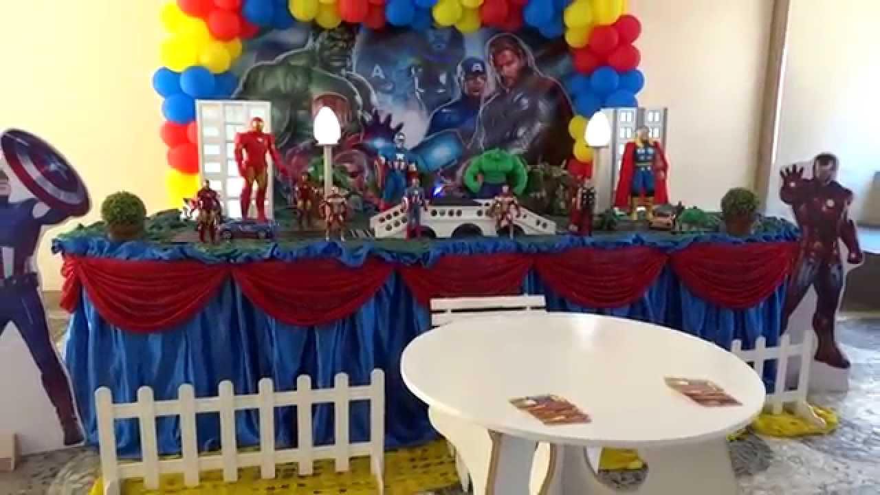 Tema Os Vingadores para decoraç u00e3o de festa infantil YouTube -> Decoração De Festa Os Vingadores