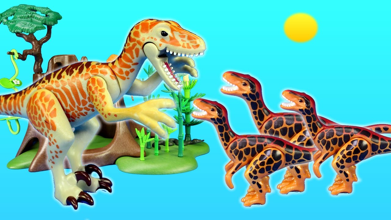 Playmobil dinosaurs deinonychus and velociraptors toys for - Dinosaur playmobile ...