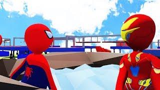 УЛЬТРА СЛОЖНЫЙ ПАРКУР 2 HUMAN FALL FLAT | пластилиновые герои Володя Человек Паук и Железный Человек