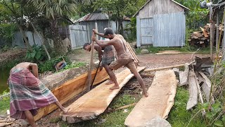 Big Size Log Cutting by Buyer Instruction।Sliced Wood Cutting Big Sized at Sawmill by Buyer Ways
