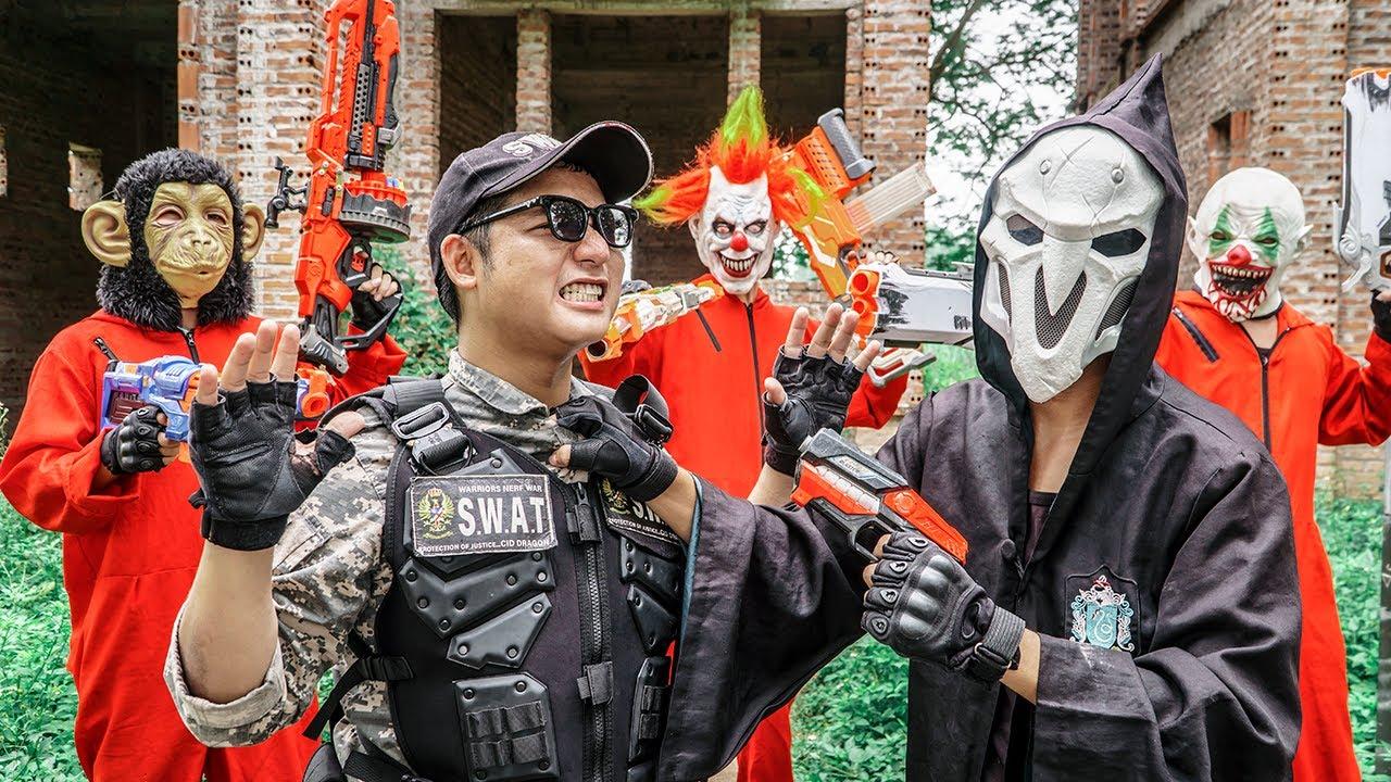 LTT Films : BOSS Police S.E.A.L X Nerf Guns Fight Beast Army Mask Bandits Army