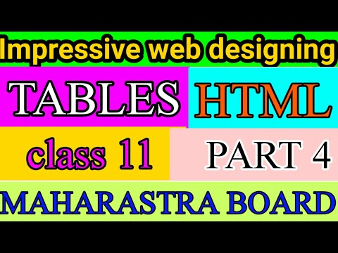 TABLES IN HTML : HTML TUTORIAL  | IMPRESSIVE WEB DESIGNING | CLASS 11 | Maharastra BOARD thumbnail