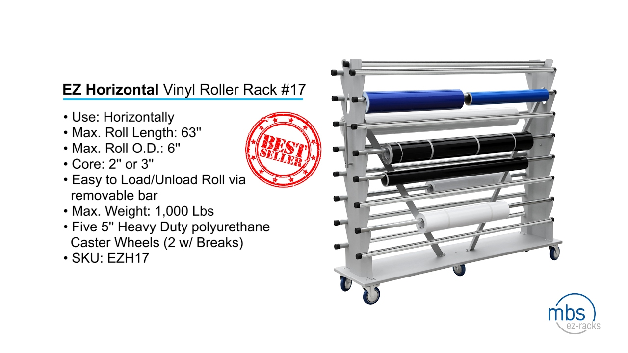 vinyl roll storage rack capacity rolling uscutter