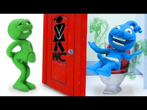 Tiny's Head Is Stuck In Lid - Funny Moment Stop Motion Animation Cartoons