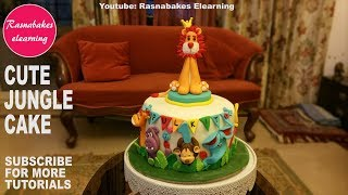 Cute cool wild zoo jungle animals 3d fondant first birthday cake for kids decorating classes video
