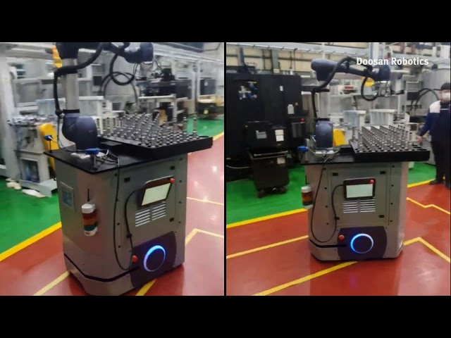 Cobot Doosan Robotics mobile pick & place su AGV